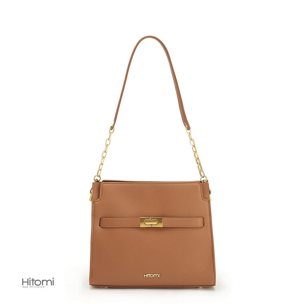 【Hitomi】復古金鍊方包(焦糖棕22106BN)