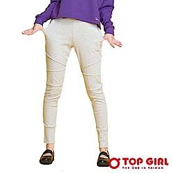 【TOP GIRL】淘氣女孩放射圖騰修身休閒長褲-輕盈灰