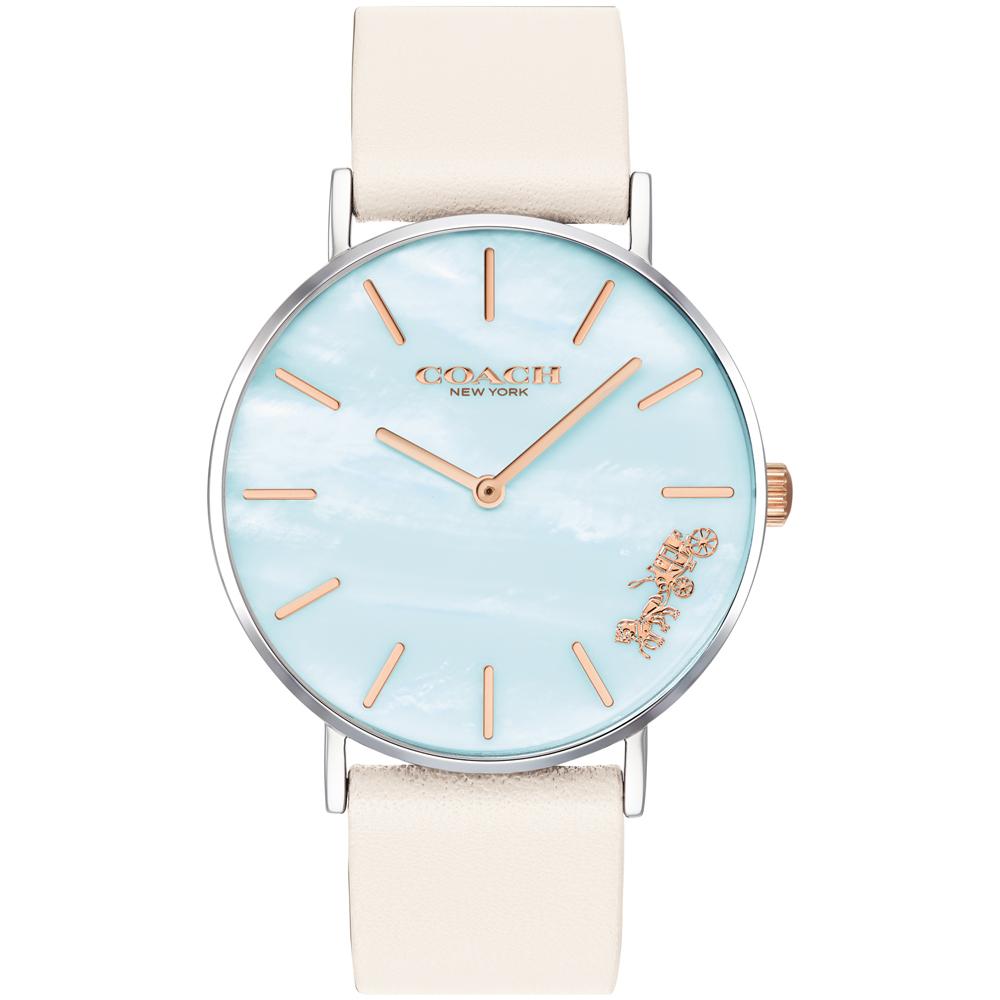 COACH Delancey 絢麗彩貝經典馬車設計女錶(14503270)-白/36mm