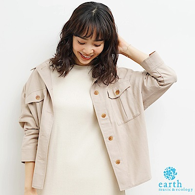earth music 中性感工作服剪裁設計襯衫/罩衫