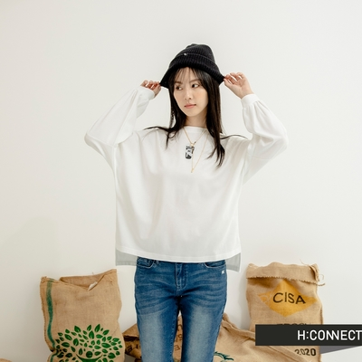 H-CONNECT 韓國品牌 女裝-【咖啡紗系列】療癒時光 Coffee Smoothie落肩大學T-白