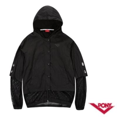 【PONY】運動風格透明感運動罩衫外套-女-黑