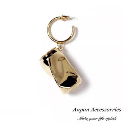 【Anpan 愛扮】日代購明星同款個性易開罐單邊925銀針耳釘式耳環-金