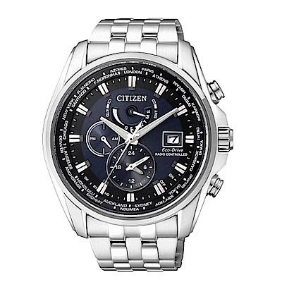 CITIZEN 星辰GENT 三眼計時全球電波腕錶-銀藍44mmAT9031-52L