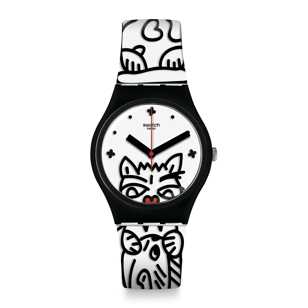 Swatch  I love your folk系列手錶 COMICAT 喵星人英雄