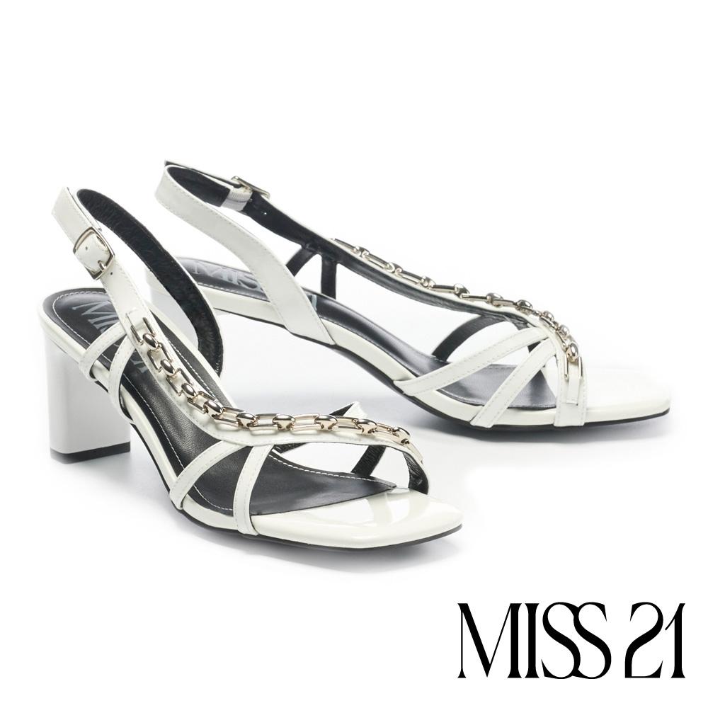 涼鞋 MISS 21 霸氣壞美漆皮交叉繫帶鏈條方頭高跟涼鞋-白
