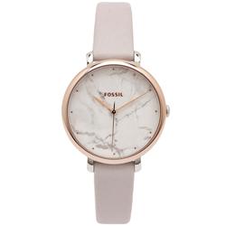 FOSSIL 優雅大理石紋款的皮革手錶(ES4377)-灰x白面/36mm