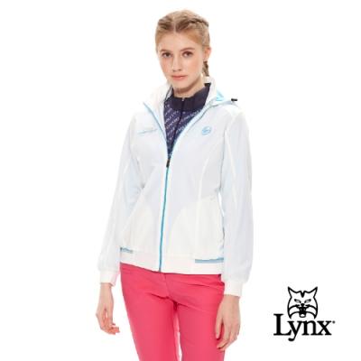 【Lynx Golf】女款瑞士3X DRY吸汗速乾防潑水可拆式帽子長袖外套-藍色