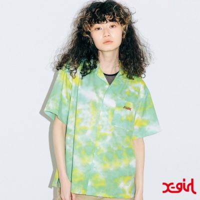 X-girl ANGEL FACE S/S SHIRT渲染襯衫-綠/黃