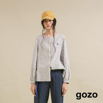 gozo 造型側腰排釦格紋上衣(二色)