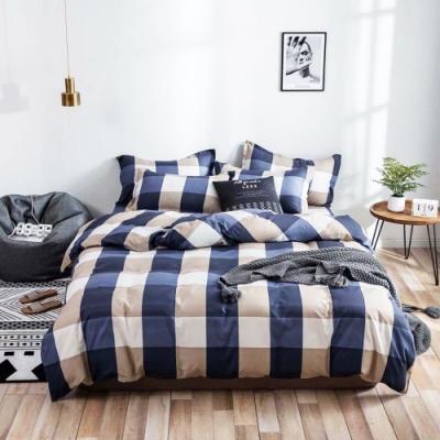 A-ONE 雪紡棉 單人床包/枕套二件組-紳士格子