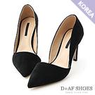 D+AF 典雅魅力.麂絨斜口尖頭高跟鞋*黑