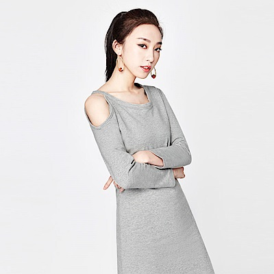 SUITANGTANG 露肩棉質洋裝-淺灰