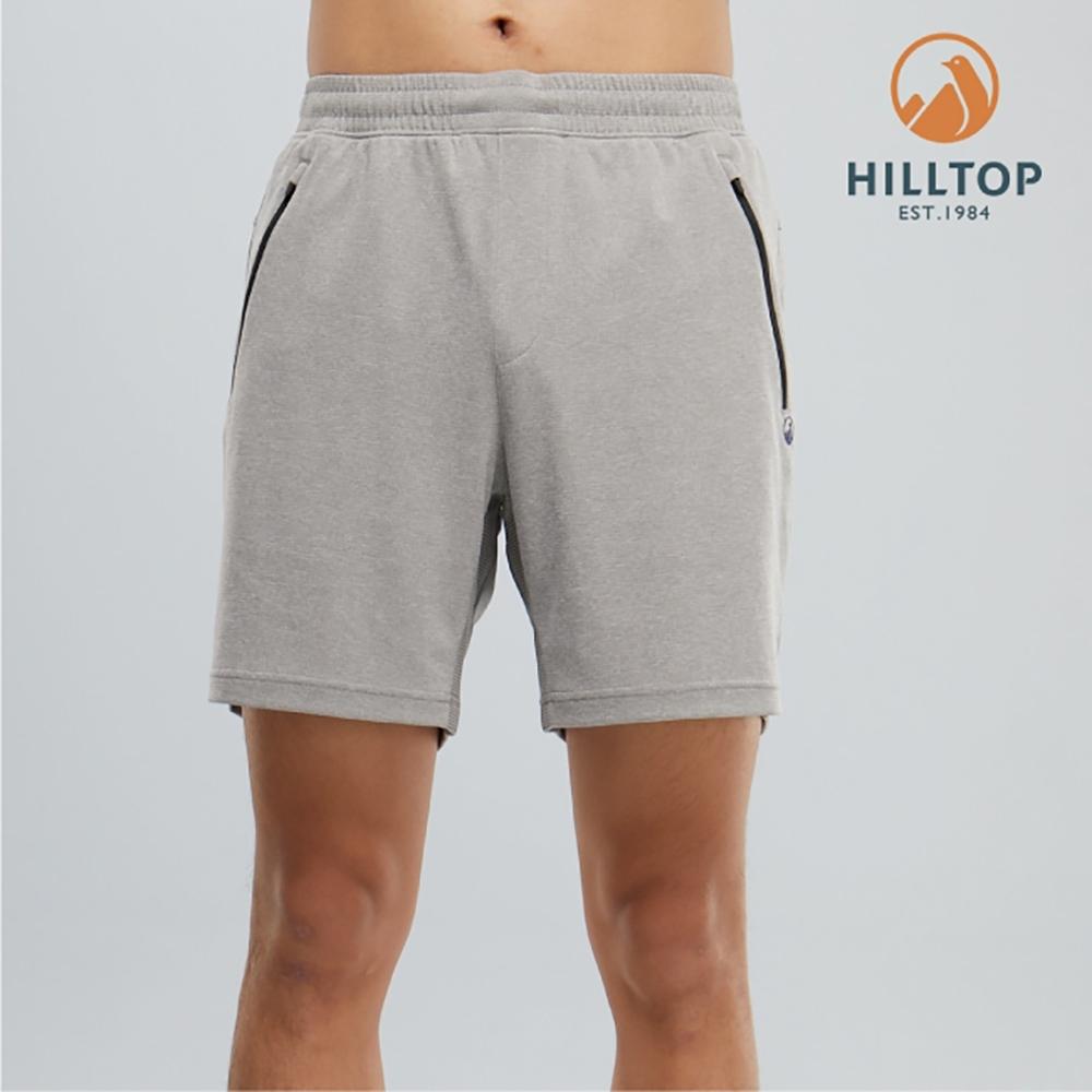 【hilltop山頂鳥】男款吸濕快乾抗UV抗菌短褲PS09XM77ECK0淺灰麻花