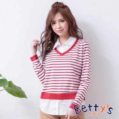 betty's貝蒂思 假兩件條紋拼接襯衫(紅色)