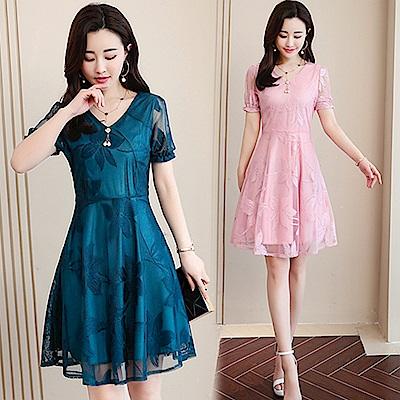 【韓國K.W.】時尚修身蕾絲洋裝-2色