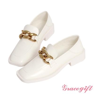 Grace gift-金屬粗鍊方頭樂福鞋 白