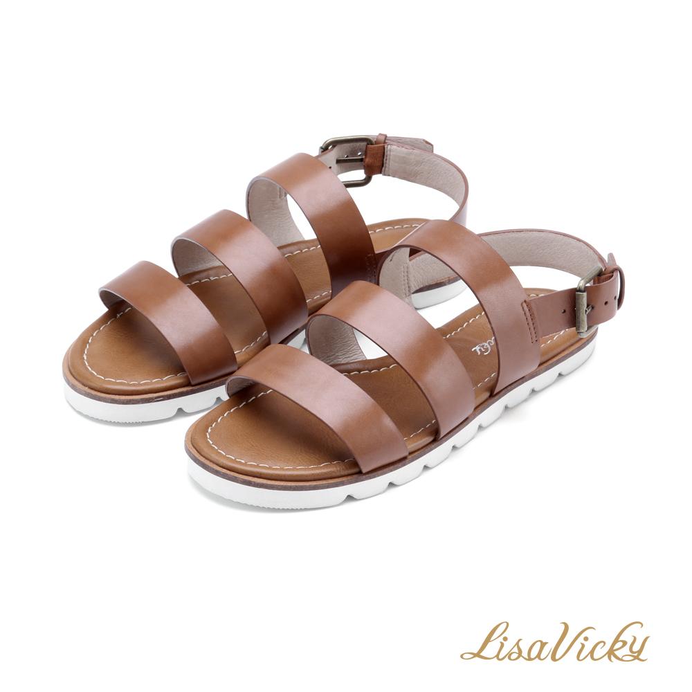 LisaVicky輕巧簡約寬版三橫帶平底涼鞋-深棕色
