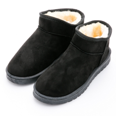 River&Moon雪靴-韓版簡約厚毛Q軟底斜口短靴-黑