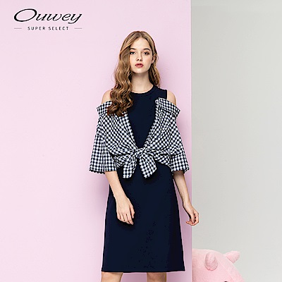 OUWEY歐薇 格紋襯衫拼接洋裝(藍)