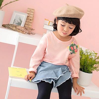全棉立體花朵印花口袋造型長袖上衣-OB大尺碼