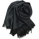 COACH 經典緹花LOGO羊毛混絲針織披肩圍巾(深黑)