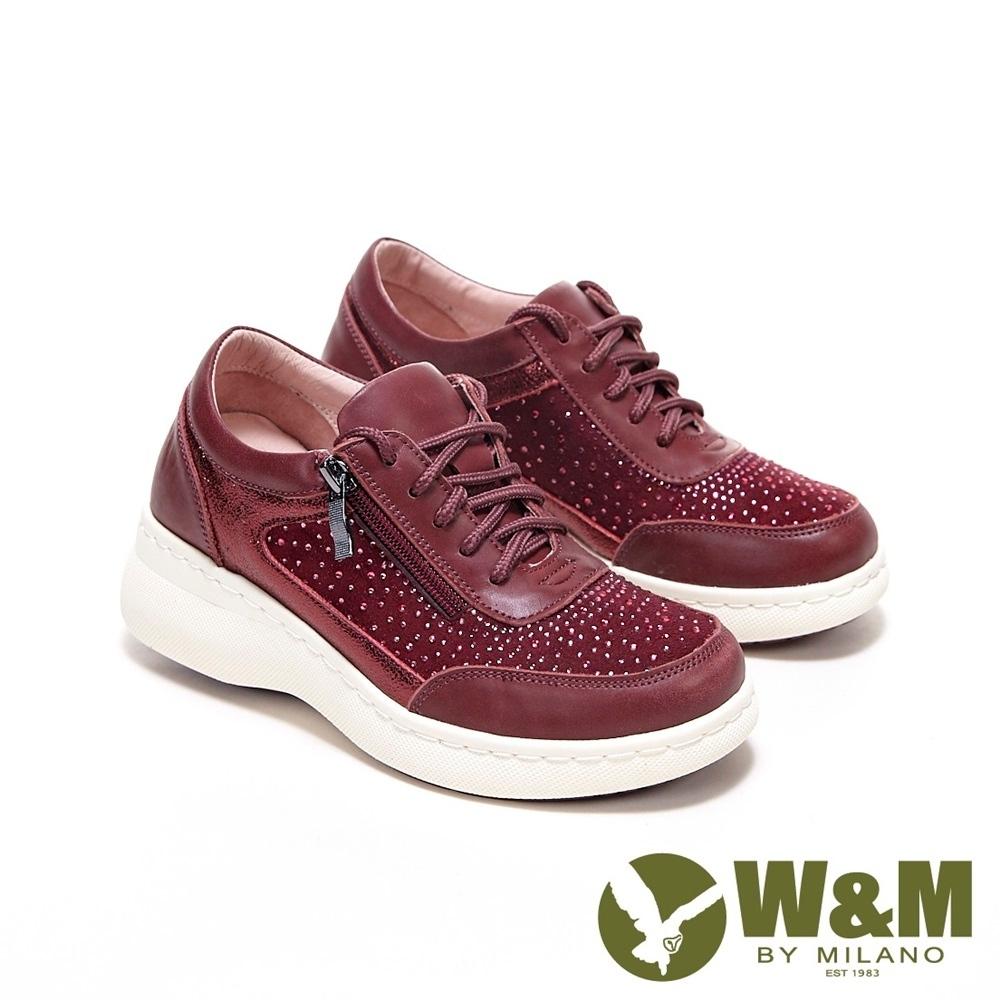 W&M 圓頭綁帶亮鑽內增高鞋 厚底鞋 女鞋-豆沙紅(另有深藍)