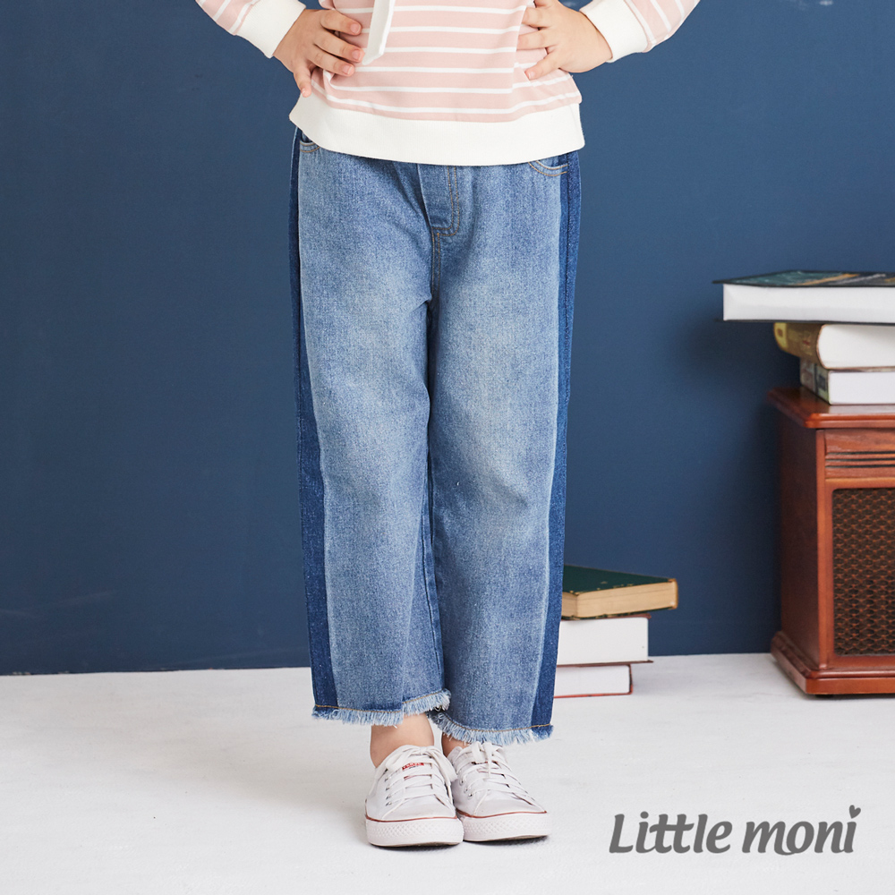 Little moni 牛仔水洗寬褲 牛仔藍