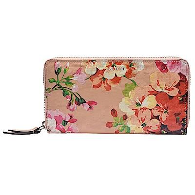 GUCCI Blooms系列花卉圖案牛皮襯裡拉鍊手拿長夾
