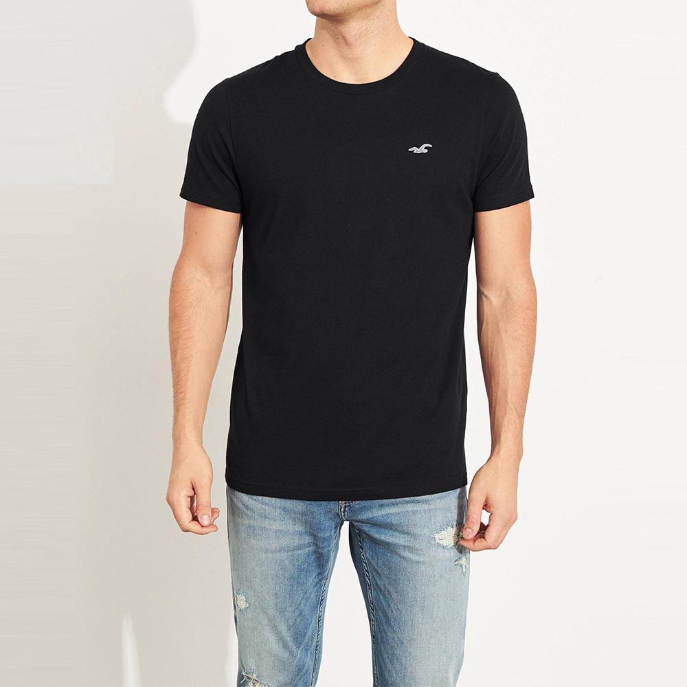 海鷗 Hollister 經典圓領刺繡海鷗素面短袖T恤(BONL)-黑色