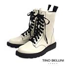 Tino Bellini 率性兼具舒適柔軟真皮軍靴 _米白