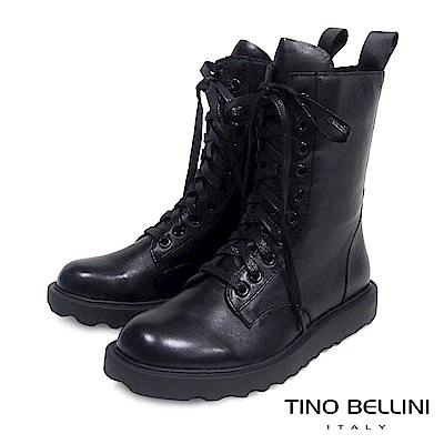 Tino Bellini 率性兼具舒適柔軟真皮軍靴 _ 黑