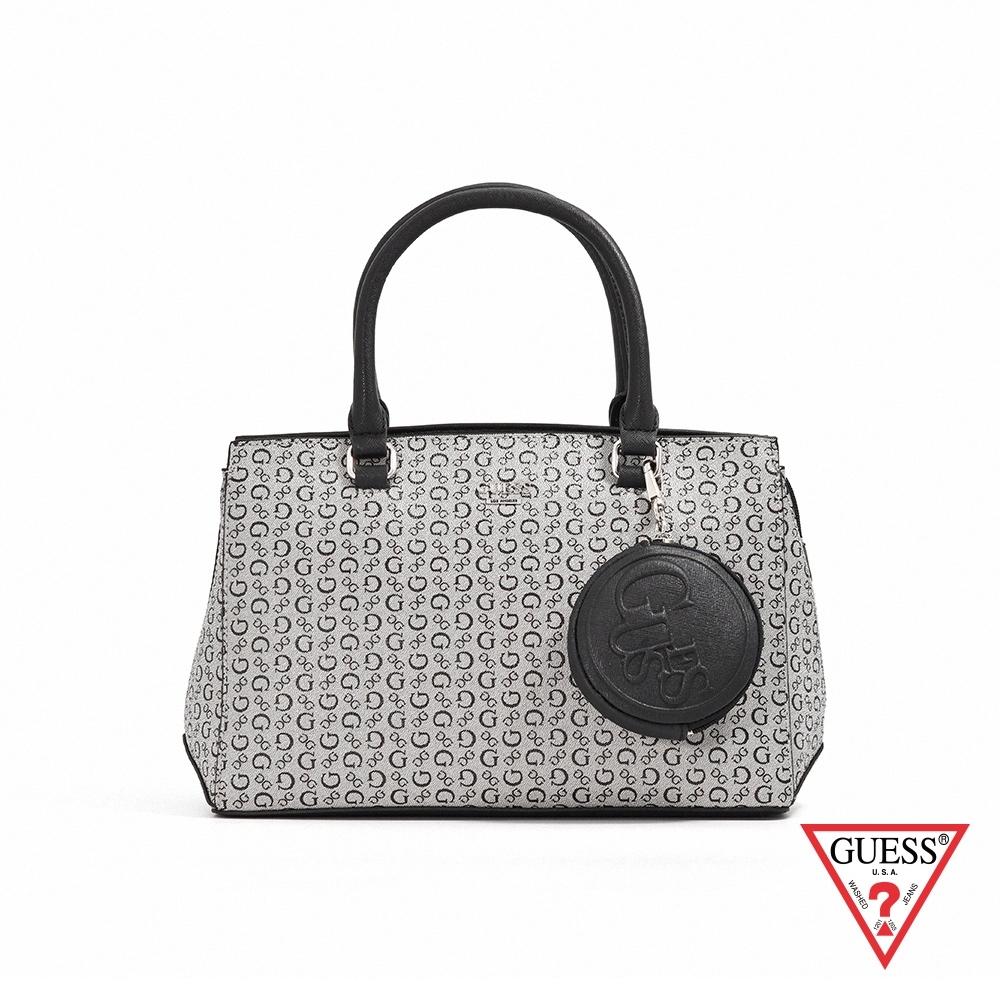 GUESS-女包-復古滿版LOGO肩背手提包-黑 原價3090