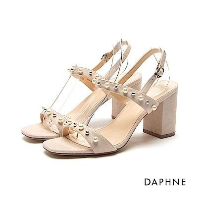 達芙妮DAPHNE 涼鞋-雙色珠飾珍珠一字粗高跟涼鞋-杏