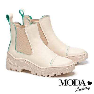短靴 MODA Luxury 童趣潮流跳色線條牛皮厚底短靴-綠