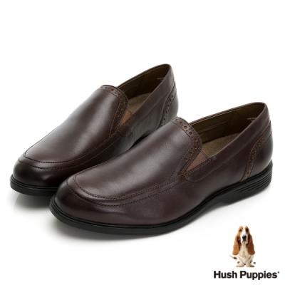 Hush Puppies 經典舒適正裝皮鞋-深棕色
