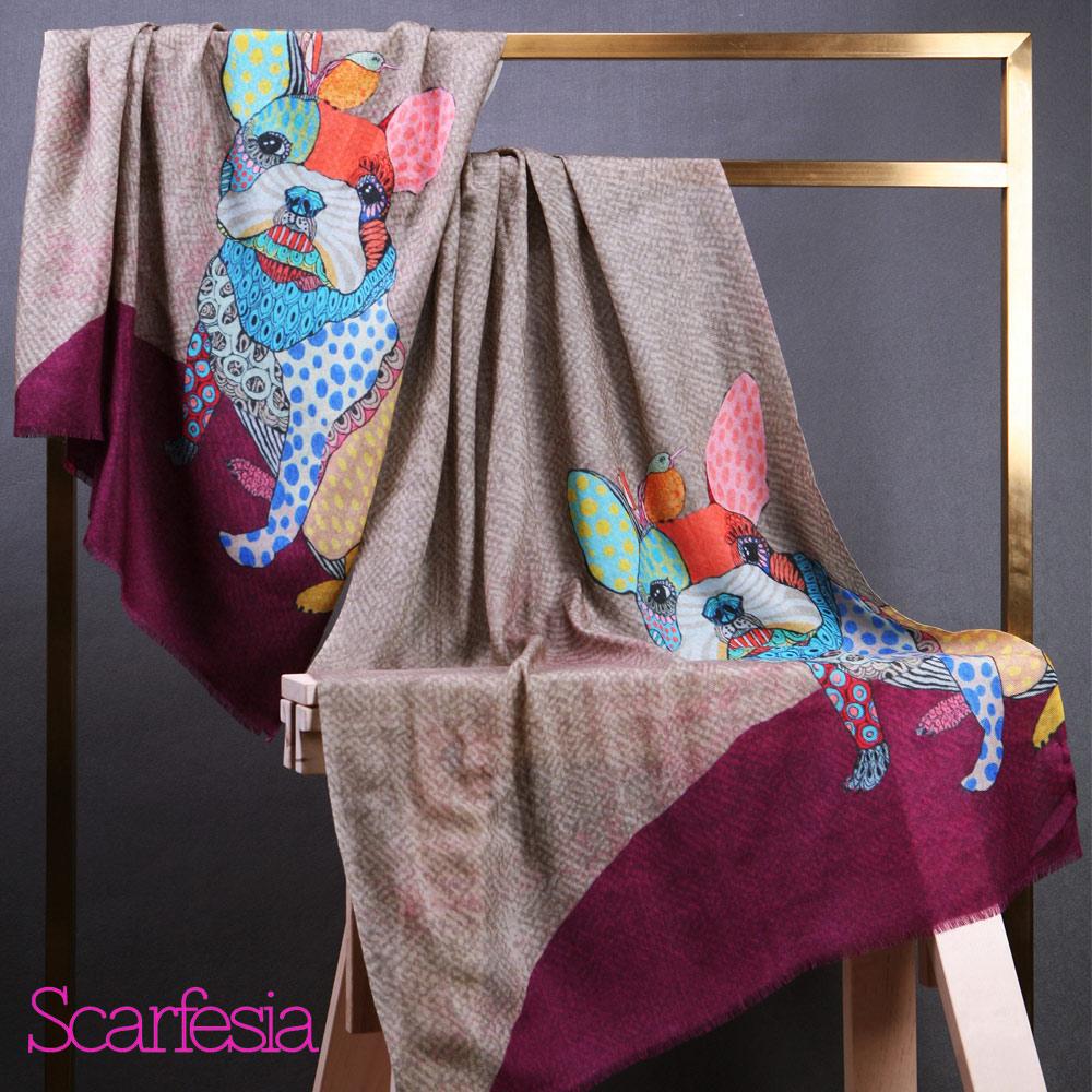 【Scarfesia】俏皮法鬥 法國藝術家親繪設計印度手工披肩圍巾(紅色)