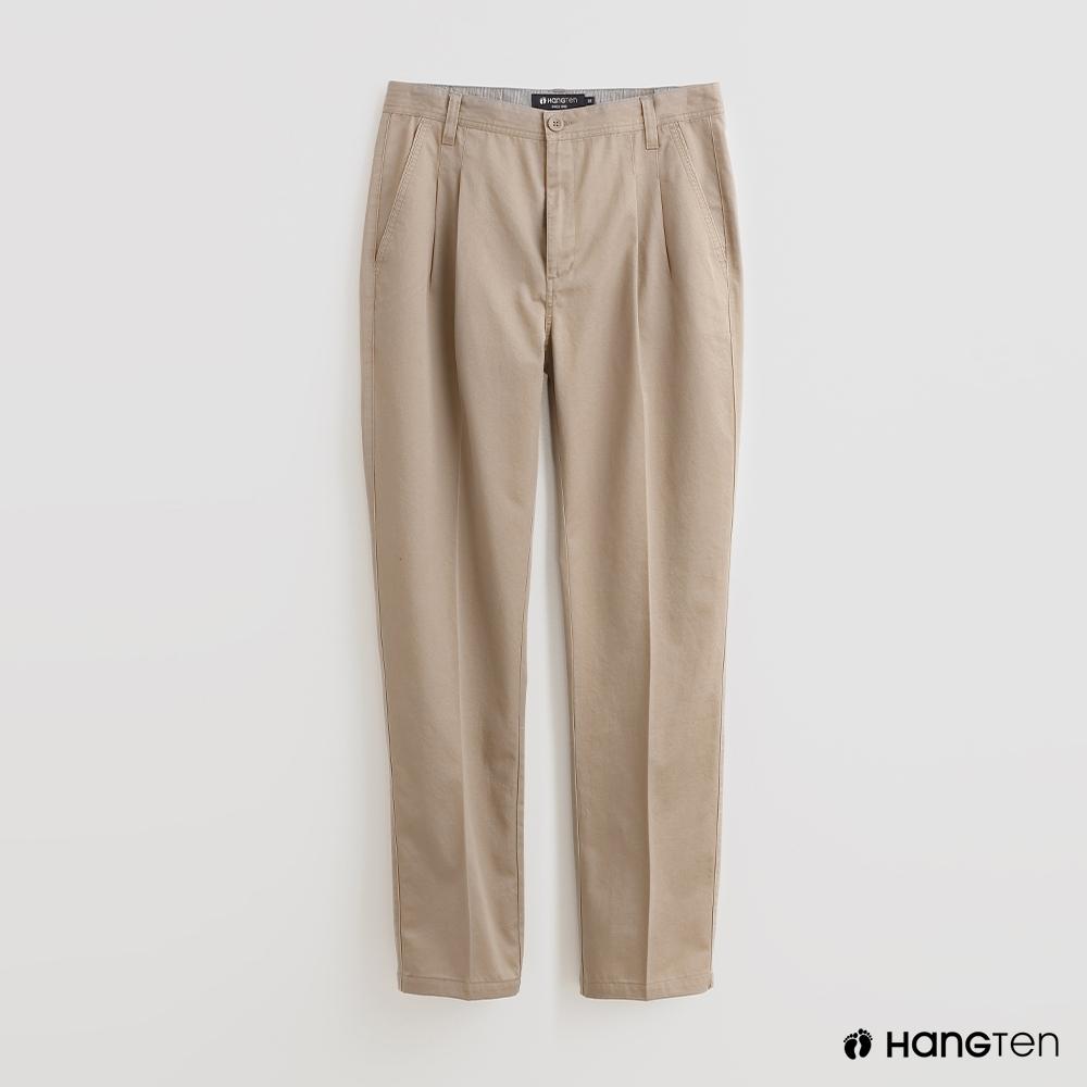 Hang Ten - 男裝 - 素面鈕扣休閒長褲 - 卡其