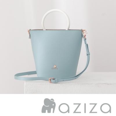 aziza IRIS圓把直式2way包 水藍