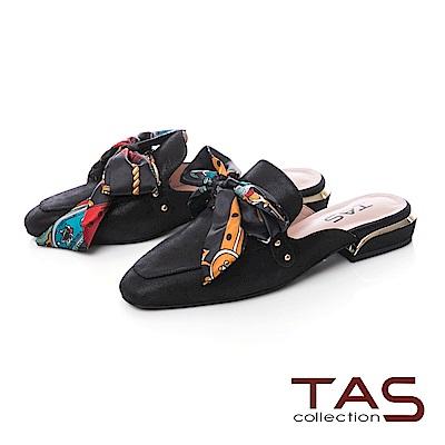TAS 印花蝴蝶結穆勒鞋-百搭黑