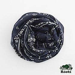 Roots配件- 腰果花長條圍巾-藍