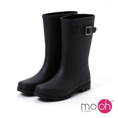 mo.oh 愛雨天-素面皮帶扣中筒防水雨鞋-黑色