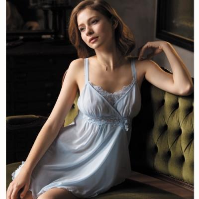 華歌爾睡衣-時尚知性 M-L  睡衣裙裝  (藍)超細針織