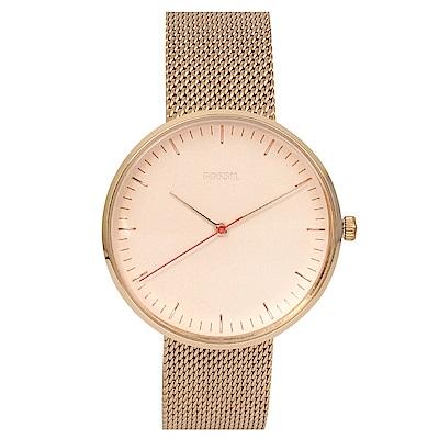 FOSSIL 美國精品手錶 ESSENTIALIST玫瑰金錶盤錶框米蘭錶帶38mm