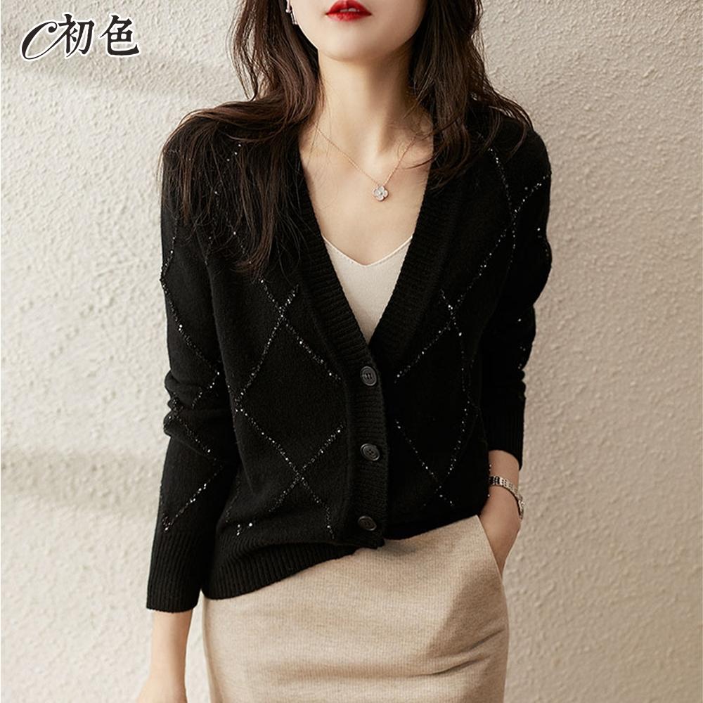 初色  優雅亮絲格紋針織外套-黑色-(F可選)