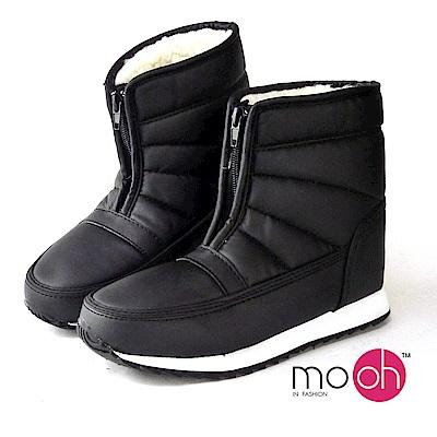 mo.oh -防水皮面羊毛拉鍊短筒男女款雪靴
