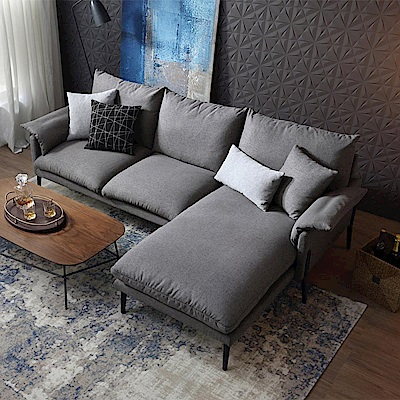 hoi! 輕奢現代可拆洗北歐L型布沙發(附抱枕)RAG1K-中灰色 (H014215973)