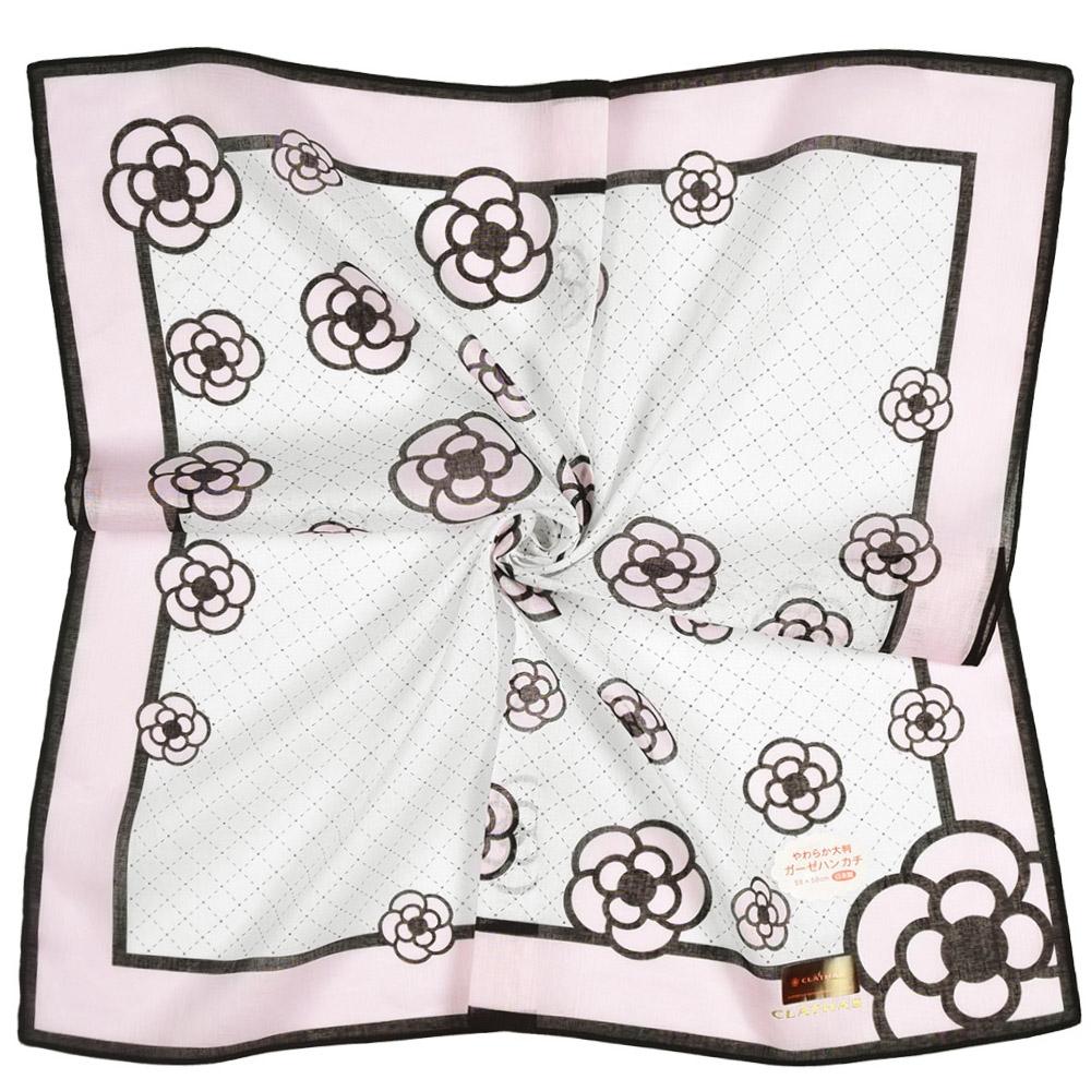 CLATHAS山茶花虛線格紋燙金LOGO純綿帕巾領巾-白色