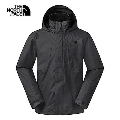The North Face北面男款黑色防風防水衝鋒衣 3SPIJK3