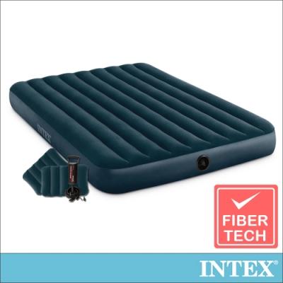 INTEX經典雙人充氣床(綠絨)-寬152cm(附手壓幫浦+枕頭*2)(64736)